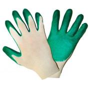 Перчатки х/б с одинарным латексным покрытием (зеленые) 01-061