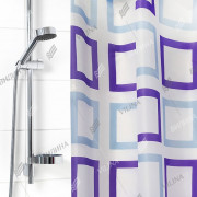 """VILINA Занавес для ванной комнаты 180 x 180 см """"Для бережливых"""" 1065BR квадраты узор на белом"""