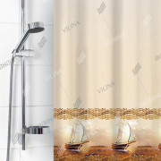 """VILINA Занавес для ванной комнаты 180 x 180 см 6666 Корабли на бежевом"""" 1579-1"""