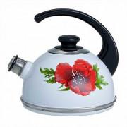"""СД Чайник 2,5 л (консольная ручка) T04/25/03/04 """"Маковый цветок"""" белый (декор - нержавеющая сталь)"""