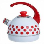 СД Чайник 3,5 л (консольная ручка) T04/35/03/08/H13 Красные горохи белый декор - нержавеющая сталь на красном