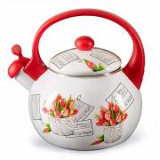 """METALLONI Эмалированный чайник 2,5 л. """"Тюльпаны"""" ЕМ 25101/38"""