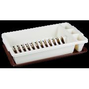 АР-ПЛАСТ Сушилка для посуды 16014 слоновая кость/ коричневый