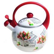 """METALLONI Эмалированный чайник 2,5 л. """"Тюльпаны"""" ЕМ 25001 /38 А"""